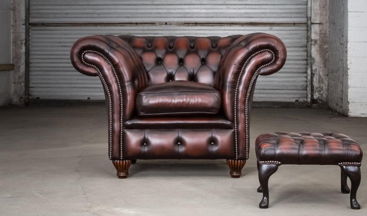 Herne bay fauteuil + queen Anne voetstoel - antique dark rust