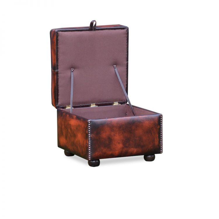 Square slipperbox - antique dark rust