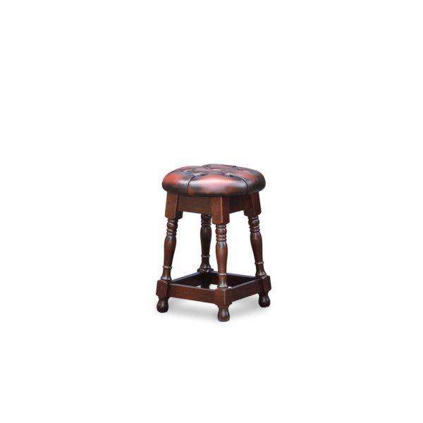 Tudor low barstool - antique dark rust